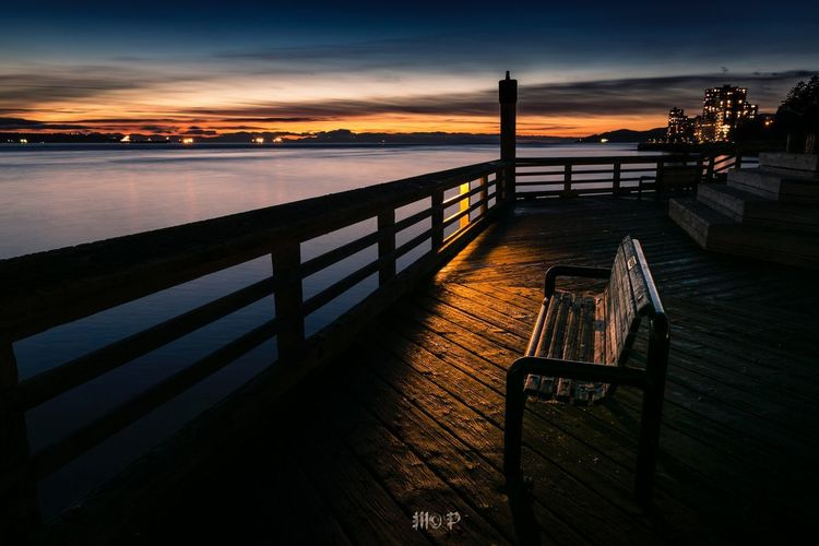 Warm benches Bluehour Sunset_collection Sunset Bench Vancouver BC Canada Vancouver Land Ocean Water Sky Sunset Sea Nature Railing Scenics - Nature Architecture No People Tranquil Scene Tranquility Cloud - Sky Beach Beauty In Nature