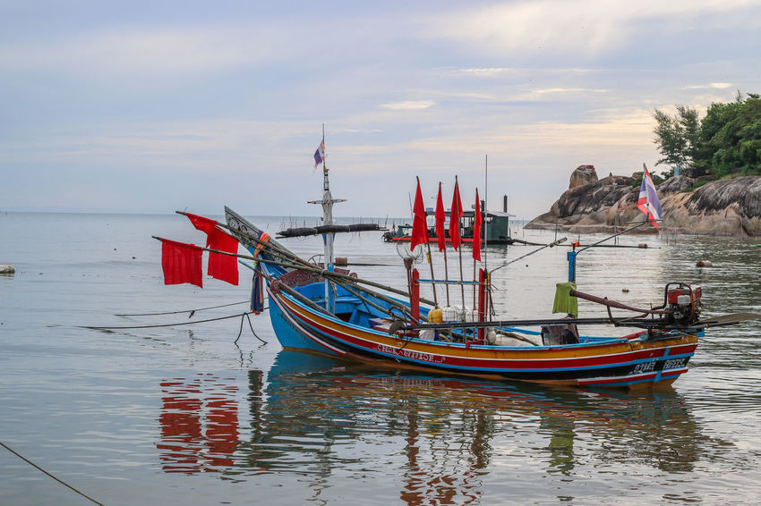 boat Boat Thailand Songkhla Thailand Songkhla Kolae Boat Traditional Fishing Boat Southern Provinces Of Thailand Small Coastal Boat Claw Fang Nautical Vessel Beach Tranquility Reflection Sea Moored No People Outdoors Day