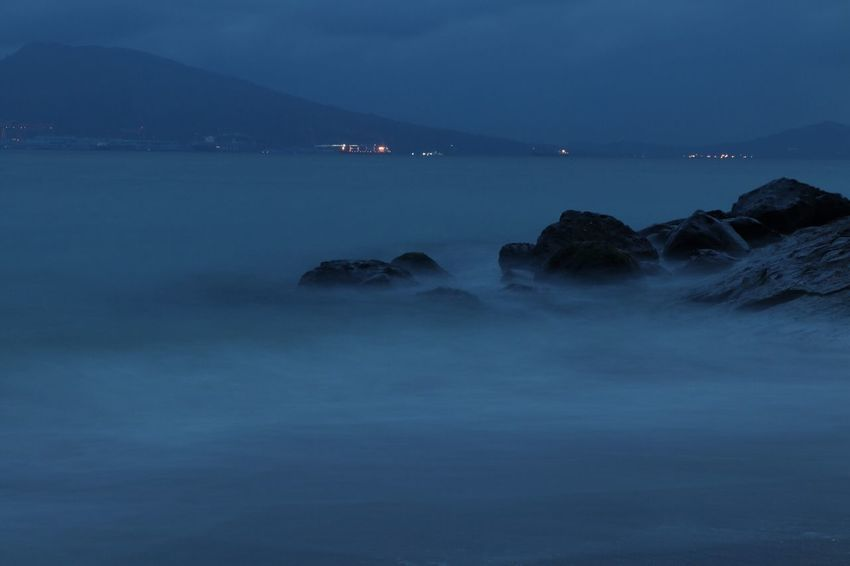 Night at the beach Water Scenics - Nature Sea Beauty In Nature Sky Tranquil Scene Tranquility Rock Nature No People Long Exposure Idyllic Night Rock - Object Blue Outdoors