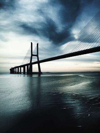 Vasco da Gama Hello World Bridge Bridges Lisbon Lisbonlovers Lisboa Portugal Riverside River Nature City Infrastructure Sky Clouds Cloudy