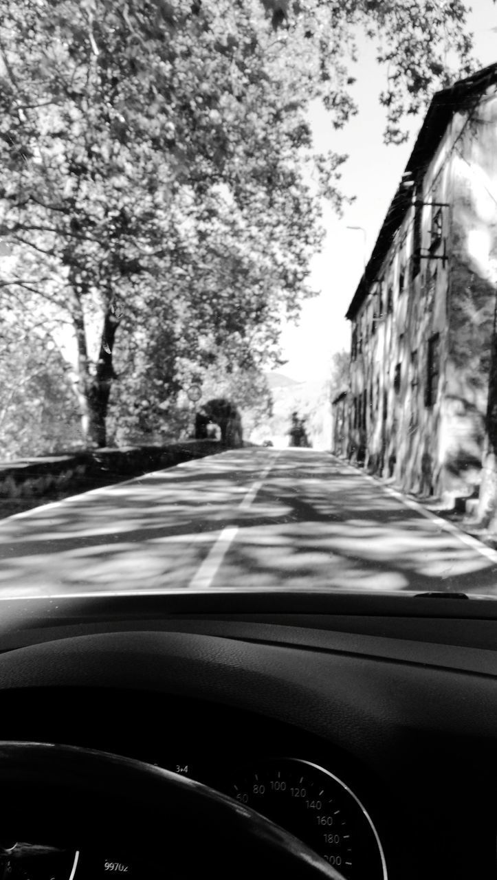 mode of transportation, transportation, car, motor vehicle, land vehicle, windshield, vehicle interior, glass - material, transparent, car interior, road, tree, no people, control panel, plant, travel, dashboard, street, nature, city, outdoors, car point of view