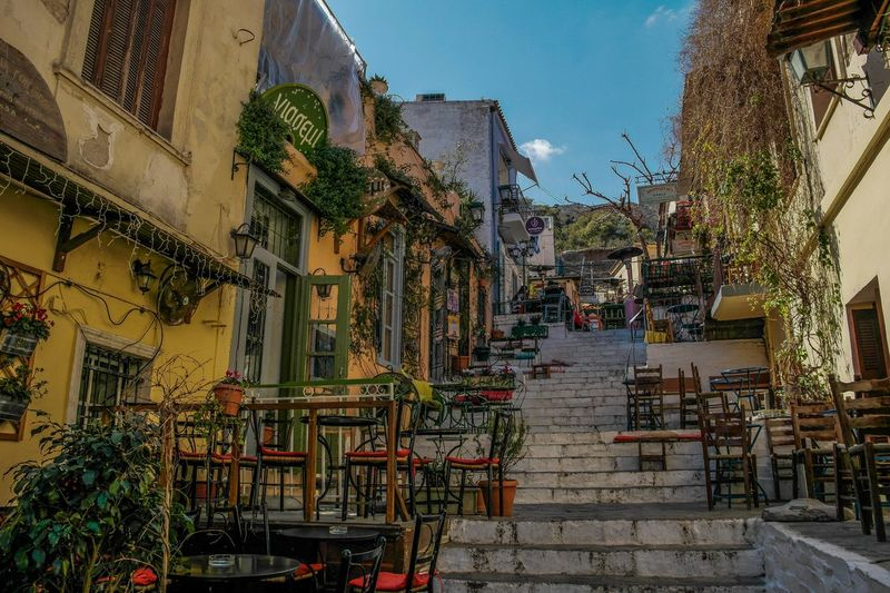 Athens - March 2015 Green Restaurant Cafe Open Air Europe Greece Athens Architecture Built Structure Building Exterior Steps Day Outdoors Sky