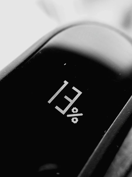 Thirteen! Close-up No People Black Color Text Thirteen Percent Percentage Battery Battery Level Numbers Mi Band 2 Mi Xiaomi Pixels Close Up Technology Macro Black&white Black & White Blackandwhite Black And White
