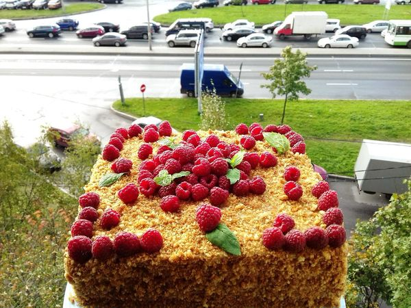 Flowering Plant Food And Drink Dessert No People Flower Cake Tree Freshness Day Sweet Sweet Food Food High Angle View Nature Park - Man Made Space Mode Of Transportation Park Growth Red Plant