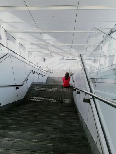 Woman Rear View Sky Steps And Staircases Footbridge Hand Rail