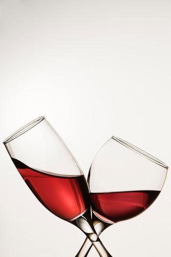 Two glass wine Close-up Day Light Minimalist No People Red Studio Shot Two Glass Wine Vine White Background Wine Wineglass