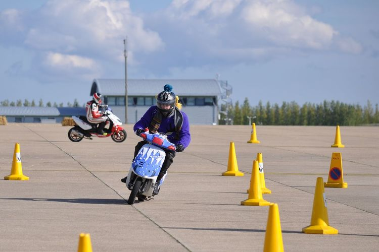 Fancy Dress Moped Racing Christmas Christmas Jumper Cones Crazy Fun Moped Mopeds Motorbike Pigtails  Racing Riding The Moped Traffic Cones