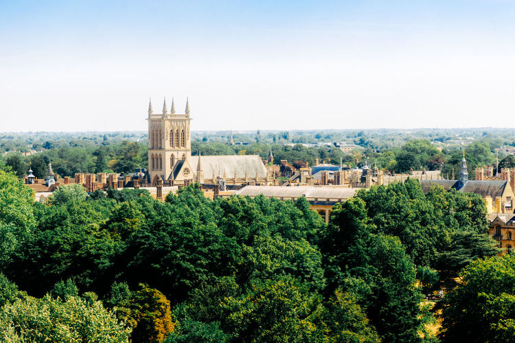St John's College Cambridge Beautiful Day Cambridge University Rooftop Skyline Spires University Campus Architecture Building Built Structure City Cityscape Green Color Growth History Landscape Medieval Nature No People Outdoors Place Of Worship Plant Sky Tower Travel Destinations Tree