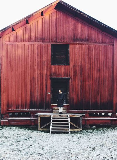 Cold Temperature Red Architecture Building Exterior Built Structure Winter Day Snow Building House Cold Temperature Nature Wood - Material One Person Sky Outdoors Moments Of Happiness