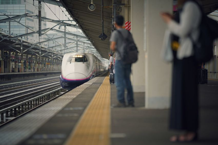 Capture The Moment Depth Of Field Low Section Railroad Station Platform Transportation Japanese  Shinkansen Railroad Track People Waiting Snapshots Of Life Urban Exploration Getting Inspired Transportation Mode Of Transport Streetphotography Uzu St. Full Frame Detail Sony A7RII Sigma EyeEm Best Shots 17_10 EyeEmNewHere Connected By Travel