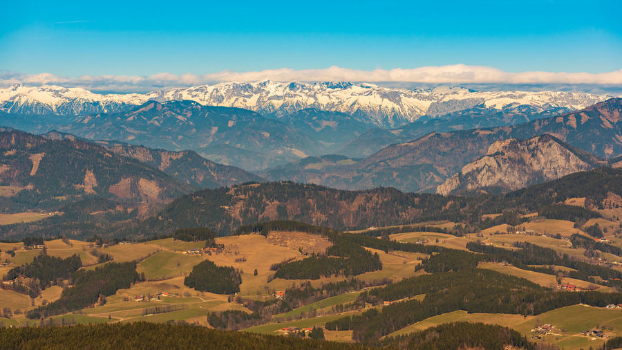 View from shockl mountain in graz. path leading to the top. tourist spot in graz styria.