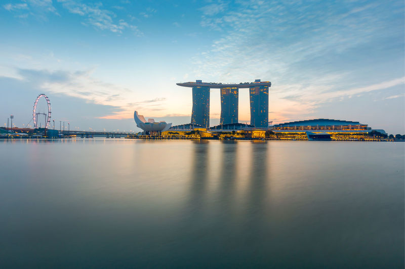Architecture Marina Bay Sands Reflection Singapore Singapore Flyer Water Sunrise_Collection Merlion Park EyeEm Gallery EyeEm Highquality