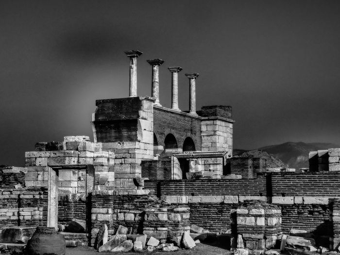 Old Ruins Against Sky At Basilica Of St John