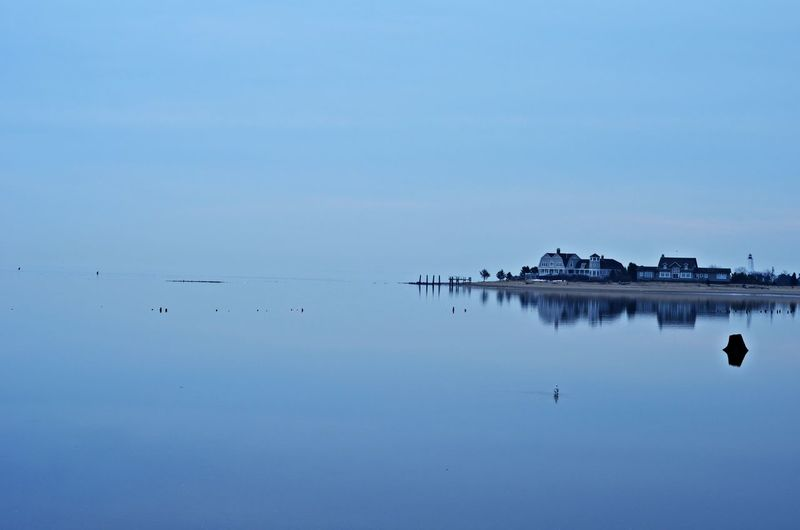Blue Built Structure Reflection Tranquility Water Waterfront