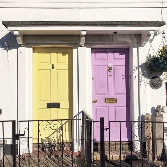Doors EyeEm Gallery Yellow Pink Built Structure Architecture Building Exterior Building Entrance No People Door Residential District House Window
