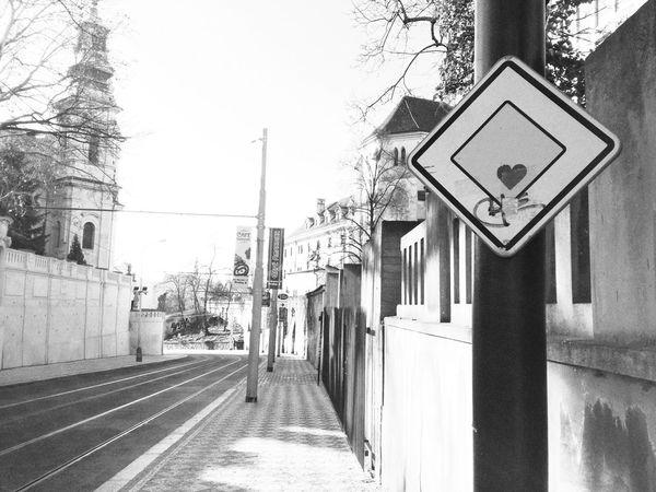 little bit of love Streetphotography Prague Blackandwhite Signs