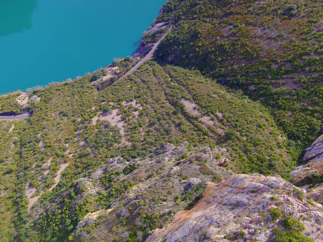 Drone  Nogera Pallaresa River Gorge In The Region Of La Noguera Province Of Lérida Rock Formation Train Of The Lakes Route From Lérida To The Seu Of Urgell Cliff Drone Photography Geology Landscape Mountain Mountain Range Physical Geography Travel Dstination