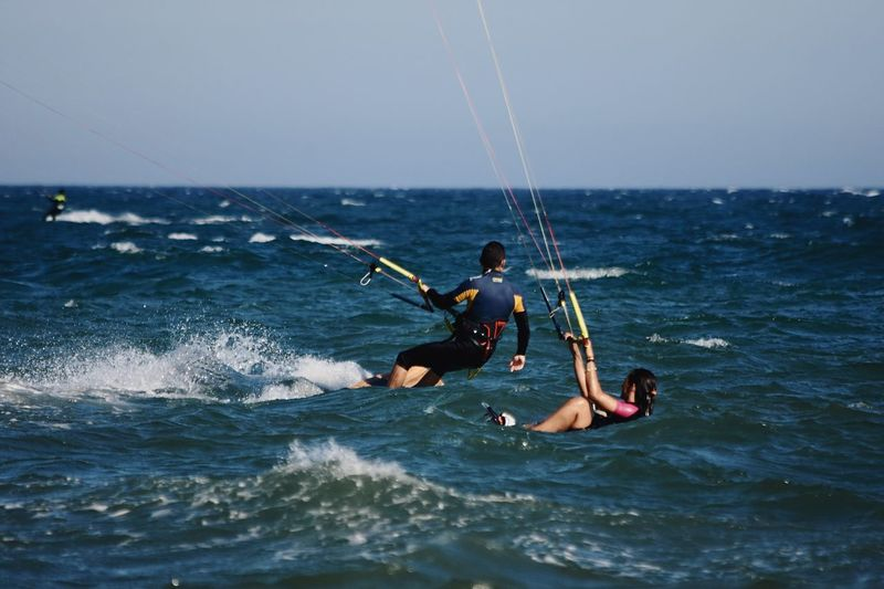 Summer is coming, get the wave! Kitesurfing Parachuting Sea Water Leisure Activity Sky Sport Motion Lifestyles Aquatic Sport Horizon Over Water Horizon Real People