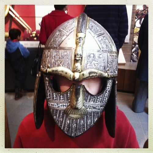 Anglo-saxon Boy British Museum, England Costume Day Dressing Up Front View Helmet History Mask Suffolk Sutton Hoo