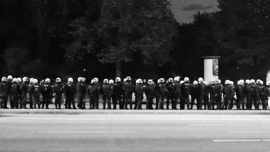 Uniform Large Group Of People Marching Armed Forces G20 Summit G20 Gipfel Protest G20 Black And White Friday The Photojournalist - 2018 EyeEm Awards