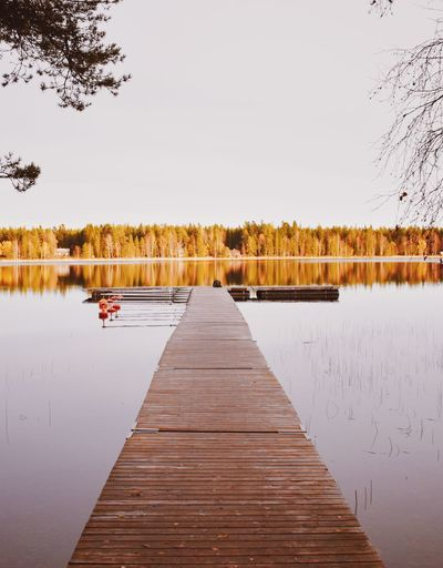 Water Sky Lake Tree Reflection Plant Nature Pier Clear Sky Tranquility Scenics - Nature Beauty In Nature Tranquil Scene Wood - Material The Way Forward Day Built Structure No People Outdoors Autumn Mood