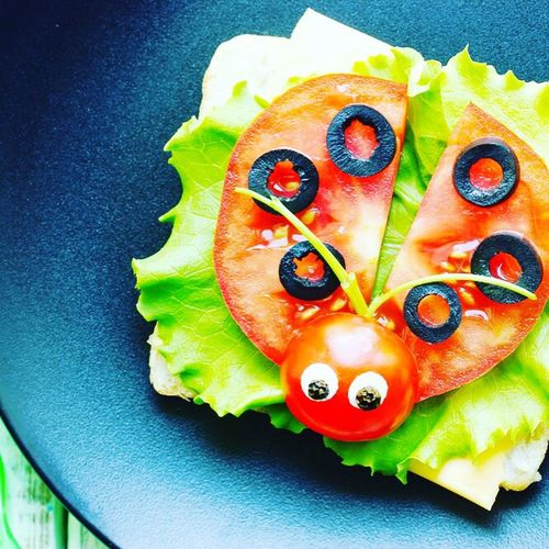 Food Healthy Eating Tomato Food And Drink Freshness No People Indoors  Ready-to-eat Appetizer Close-up Day salad Ladybug dish EyeEmNewHere