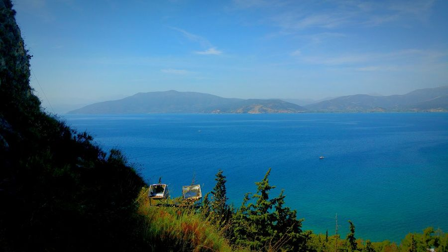 View View From Castle Viewpoint View From The Top Sea Seascape Blue Sea Blue Wave Blues Blue Water Amazing View Shades Of Blue Nature Photography Landscapes Landscape Greenery Beautiful Nature Beauty In Nature Steep Cliff Steep Slope Nafplio Peloponese Greece Mountains Mountains And Sea