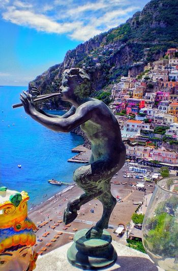 Mountain Sky Cloud - Sky Day Outdoors No People Statue Water Architecture Nature Close-up Italy❤️ Positano Pan Flute Paradise On Earth Amalfi Coast, Colorful Houses. EyeEm Selects