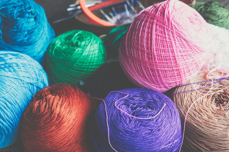 Thread Silk Colors Art And Craft Ball Ball Of Wool Blue Choice Close-up Craft Creativity Indoors  Large Group Of Objects Material Multi Colored No People Pattern Purple Silk Softness Sphere Still Life Textile Thread Variation Wool