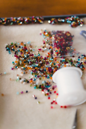 Craft Items Craftsmanship  Vintage Craft Arts And Crafts Multi Colored Close-up Still Life Indoors  Selective Focus Sweet Food No People Food And Drink Table Sprinkles Indulgence Food High Angle View Choice Celebration Variation Confetti Sweet Unhealthy Eating Temptation