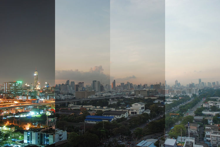 Time change Bangkok thailand Built Structure City Architecture Building Exterior Cityscape Building Sky Office Building Exterior No People Tall - High Skyscraper Nature High Angle View Tower Landscape Travel Destinations Modern Residential District Outdoors Financial District  BKK Time Lapse Photography Top View Bangkok Thailand. Day And Night