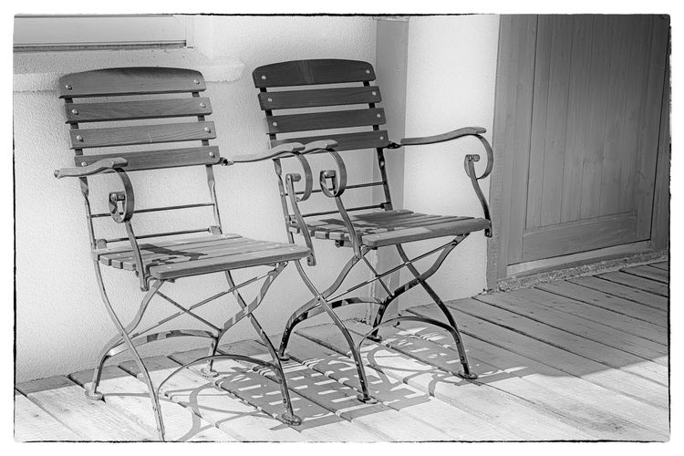 Invitation Absence Black & White Black And White Photography Bnw_collection Bw_collection Chair Empty Furniture Invitation Invitation Au Voyage Invitation To Relax Monochrome No People Objects Postcard Relax Seat Soft Soft Focus Soft Light Softness Summertime Two Veranda Wood - Material
