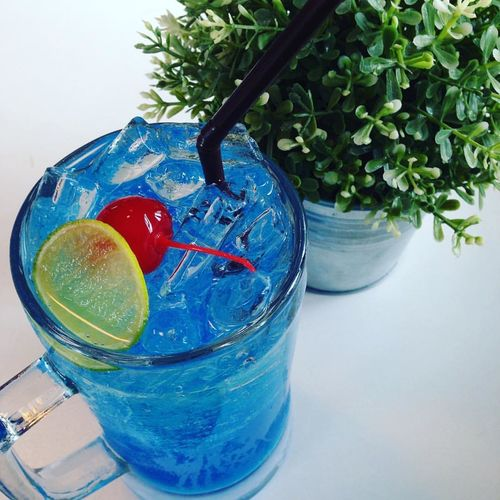 Blue Lemon juice Close-up Day Drink Drinking Glass Drinking Straw Freshness Healthy Eating Indoors  Nature No People Plastic Summer