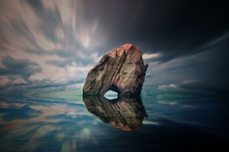 Cloud - Sky Sky Water Nature No People Outdoors Horizon Over Water Beauty In Nature Day Reflection Sea Nature Sunset Seascape Photography Popular Santa Cruz Eye4photography  Popular Photo Beachphotography Beauty In Nature Rock Formation Portugal Penedo Do Guincho Scenics Fish-eye Lens