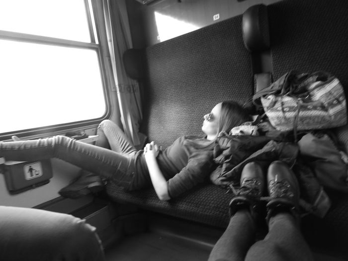 Backpacking Blackandwhite Prague On The Way Rock Chick Train Let's Go. Together.