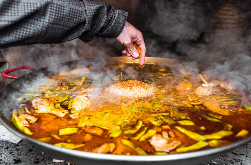 Close-up of hand preparing food in kitchen