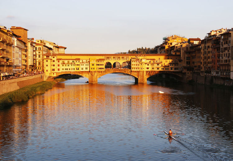 Arno River Firenze Florence Historical Sights Italy Landmark Ponte Vecchio Reflection Sunset Tourist Attraction  Water