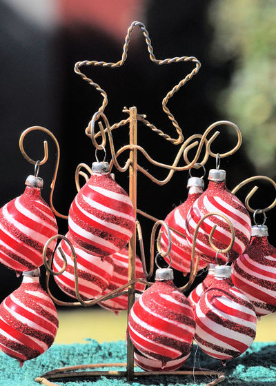 Close-up of red baubles