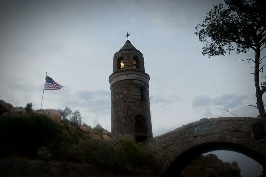 World peace bridge and light tower Mt . Rubidoux Beautiful Rocky Inspiring