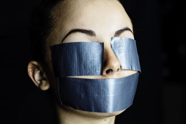 Black Background One Person Real People Close-up Indoors  People Adult One Woman Only Brown Hair Duct Tape Duct Tape Artwork Portrait, Faceless Portrait, NYP