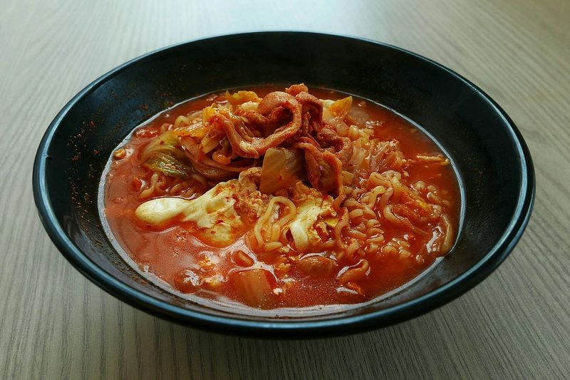 High Angle View Of Kimchee In Bowl On Table