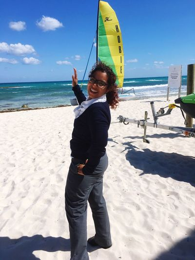 Working and hanging around the beach! Standing Beach Sea One Person Happiness Holding Sand Vacations Horizon Over Water Day Sky Outdoors Cultures People Adult
