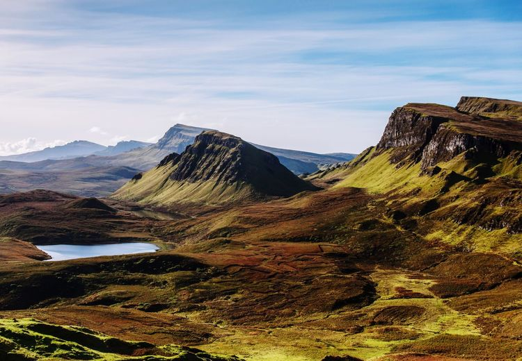 Quiraing, Isle of Skye, Scotland Isle Skye Scotland 💕 Scotlandsbeauty United Kingdom Quiraing Blue Mountain Sky Scenics - Nature Beauty In Nature Tranquil Scene Tranquility Cloud - Sky Water Mountain Range Non-urban Scene No People Idyllic Day Landscape Lake