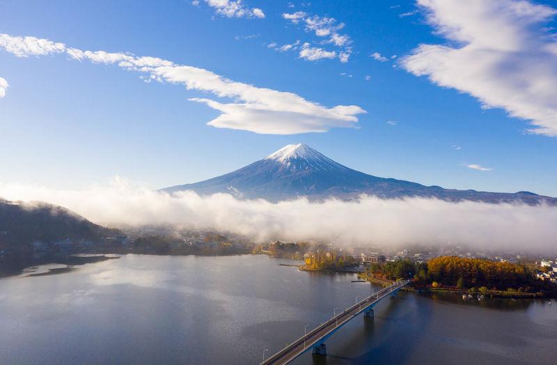 Scenic view of lake against cloudy sky at kawaguchiko lake,japan
