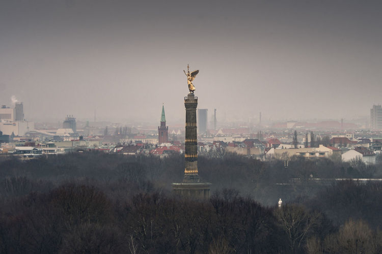 Our famous victory column looks great through all the fog around :-) Berlin Architecture Building Exterior Built Structure City Cityscape Day Fog Foggy Germany Goldelse Monument No People Outdoors Sculpture Sky Spooky Statue Tourism Travel Travel Destinations Victory Column