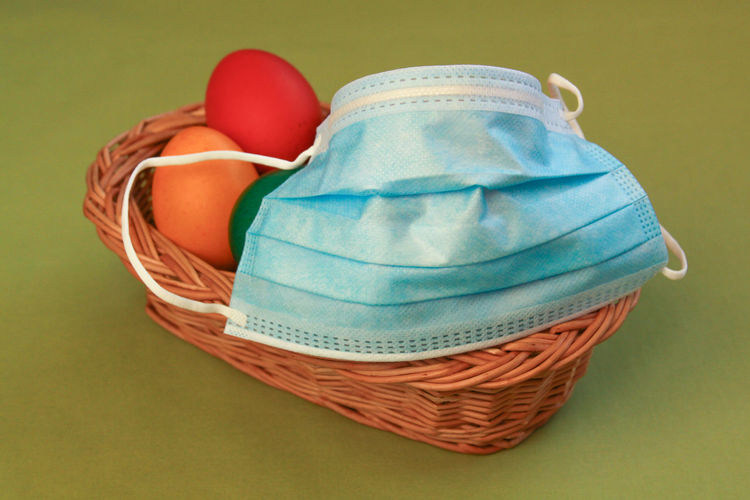 High angle view of blue basket on table