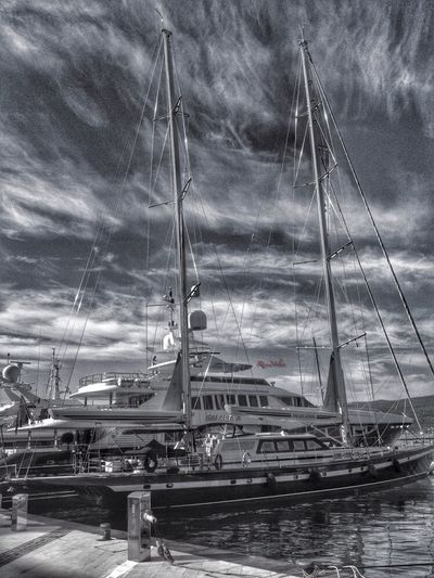 Tivat. Porto Montenegro. Black And White Boats Traveling