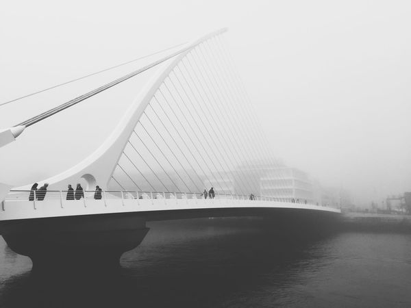 Samuel Beckett Bridge Dublin, shot with iPhone 6 and edited with VSCOCAM Black And White Ireland City