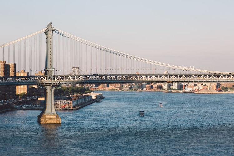 Golden gate bridge over river against sky in city