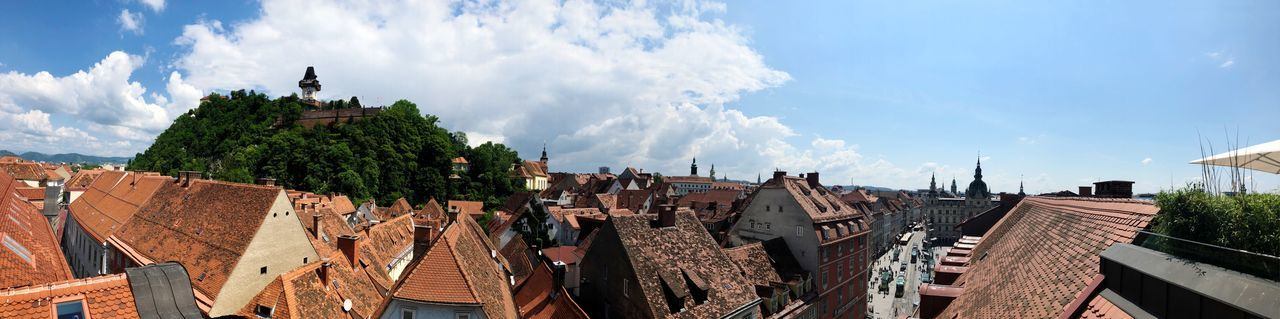 Sights of Graz with the Schlossberg and famous old buildings around the town hall Graz Austria Cityscape Austria ❤ Graz Cloud - Sky Sky Nature Architecture Built Structure Day Sunlight Panoramic Building Exterior Plant Roof Outdoors Roof Tile Wall - Building Feature